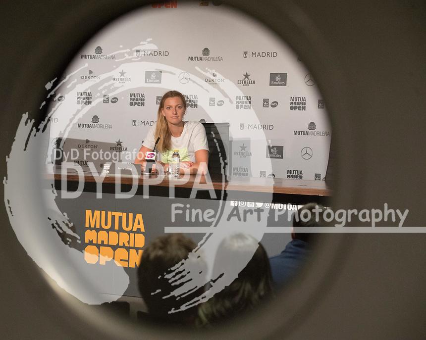 Petra Kvitova after wins the master 1000 Petra Kvitova vs Kiki Bertens final during the Mutua Madrid Open tennis match, Master 1000 at Caja Magica in Madrid on May 12, 2018.