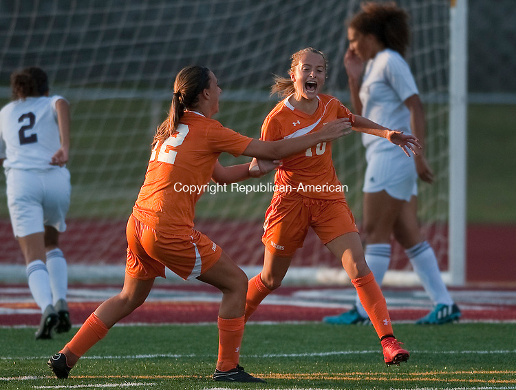 NAUGATUCK, CT--- -091615JS012---Watertown's Meadow Mancini (10) celebrates her goal with teammate Ashley Gugliotti (12) during their against Naugatuck  game Wednesday at Naugatuck High School.<br /> Jim Shannon Republican-American