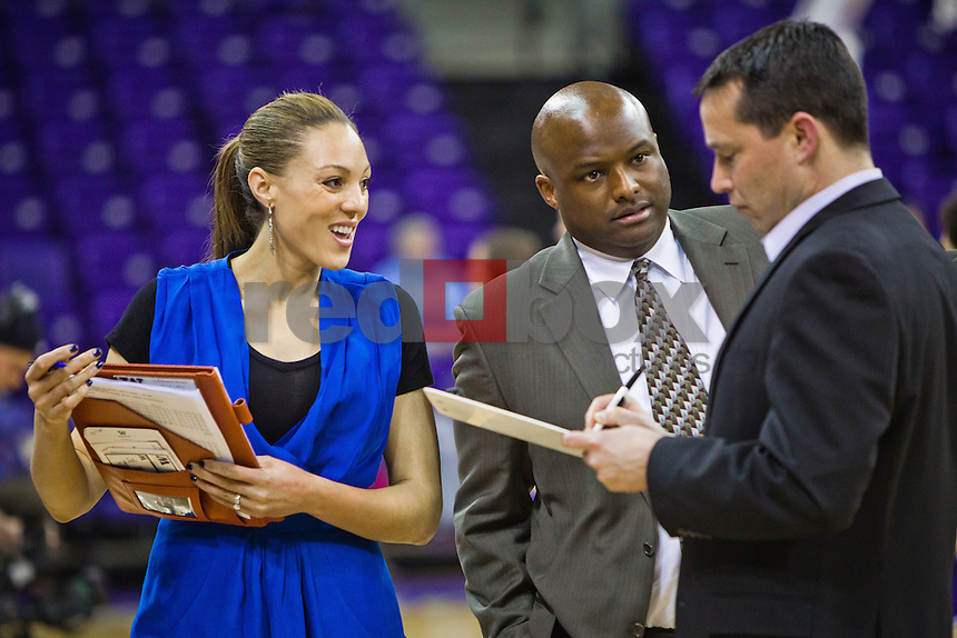Adia Barnes - Assistant Coach, Kevin Morrison - Assistant Coach, Kevin McGuff - Head Coach...----Washington Huskies women's basketball against the Arizona Wildcats at Alaska Airlines Arena at Hec Edmundson Pavilion in Seattle on Thursday, January 26, 2012. (Photo by Dan DeLong/Red Box Pictures)