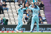 Jonny Bairstow (England) celebrates with Joe Root (England) following his catch to dismiss Chris Gayle (West Indies) during England vs West Indies, ICC World Cup Cricket at the Hampshire Bowl on 14th June 2019