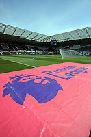 The Premier League banner laid on the pitch prior to the Premier League match between Swansea City and West Bromwich Albion at The Liberty Stadium, Swansea, Wales, UK. Sunday 21 May 2017