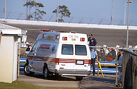 Dale Earnhardt Crash Frame 13..The ambulance carrying Dale Earnhardt leaves the crash scene for the hospital..NASCAR Winston Cup Daytona 500 18 Feb.2001 Daytona International Speedway, Daytona Beach,Florida,USA .© F. Peirce Williams .photography 2001...F.Peirce Williams Photography.P.Box 455 Eaton, OH 45320.317.358.7326  fpwp@mac.com