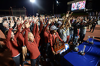 NWA Democrat-Gazette/ANDY SHUPE<br /> Arkansas' women's track and field team celebrates Saturday, May 11, 2019, after winning the SEC Outdoor Track and Field Championship at John McDonnell Field in Fayetteville. Visit nwadg.com/photos to see more photographs from the meet.
