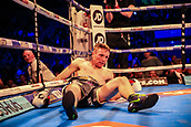 30th September 2017, Echo Arena, Liverpool, England; Matchroom Boxing, Eliminator for WBA Bantamweight World Championship;  WBA International Super-Lightweight Championship tom farrell versus ohara davies; Tom Farrell is on the canvas but gets up to continue