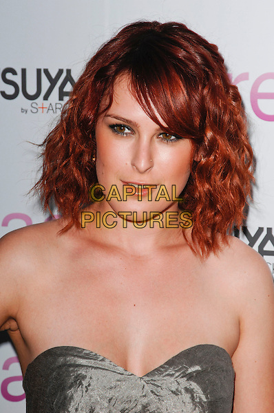 "RUMER WILLIS .arriving at the Los Angeles Red Carpet Screening of ""Spread"",.ArcLight Cinemas, Hollywood, California, USA, August 3rd 2009.portrait headshot dyed red hair fringe wavy curly strapless gold silver grey gray beige silk satin .CAP/ROT.©Lee Roth/Capital Pictures"