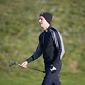 6th October 2017, Carnoustie Golf Links, Carnoustie, Scotland; Alfred Dunhill Links Championship, second round; Actor Matthew Goode walks down the first fairway on the Championship Links, Carnoustie during the second round at the Alfred Dunhill Links Championship