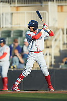 Daniel Brito (21) of the Lakewood BlueClaws at bat against the Kannapolis Intimidators at Kannapolis Intimidators Stadium on April 5, 2018 in Kannapolis, North Carolina.  The Intimidators defeated the BlueClaws 4-3.  (Brian Westerholt/Four Seam Images)