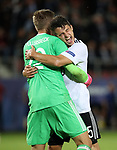 Germany's Niklas Stark celebrates winning with Julian Pollersbeck during the UEFA Under 21 Final at the Stadion Cracovia in Krakow. Picture date 30th June 2017. Picture credit should read: David Klein/Sportimage