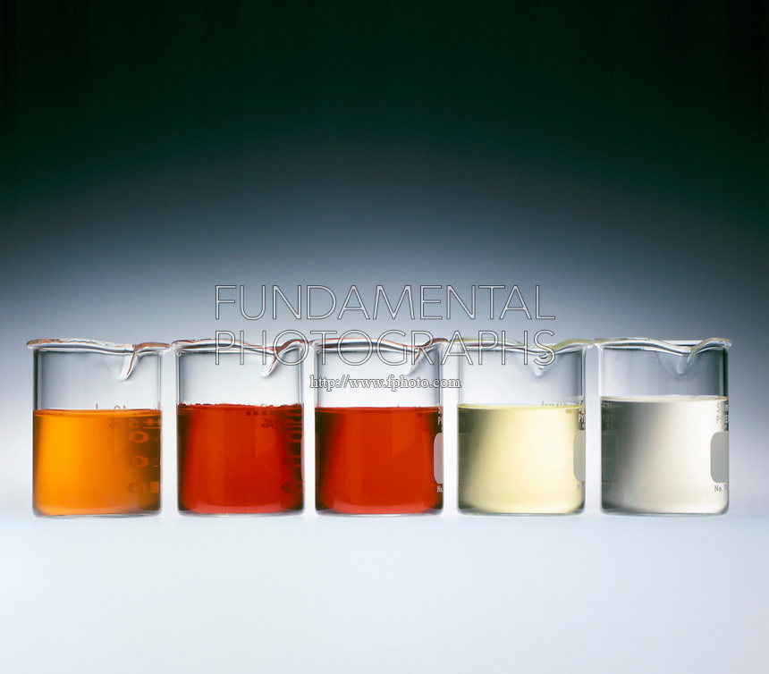 IRON3+ &amp; THIOCYANATE EQUILIBRIUM SHIFT: ION COLORS<br /> (yellow)Fe 3+(aq) + (colorless)SCN-(aq)&lt;=&gt;(red)FeNCS 2+(aq)<br /> Left to Right: Original solution (orange). FeCl3 increases red [FeNCS 2+]. KSCN increases red [FeNCS 2+] further. H2C2O4 increases yellow [Fe 3+]. HgCl2 increases colorless [SCN-].