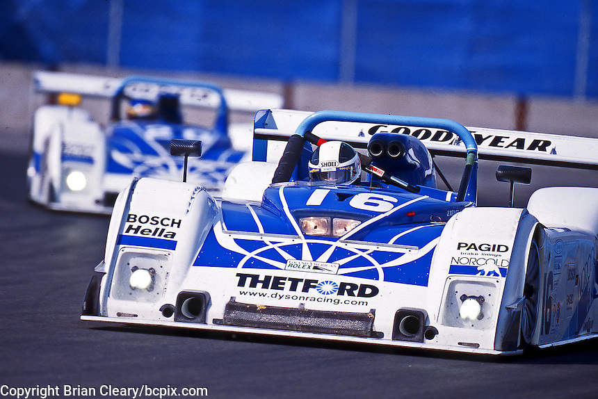 The #16  Dyson Racing Team Riley & Scott Mk III 018/Ford of James Weaver and Butch Leitzinger iin action, Circuit Trois Rivieres, Trois Rivieres, Quebec, Canada, August 5, 2001. (Photo by Brian Cleary/www.bcpix.com)