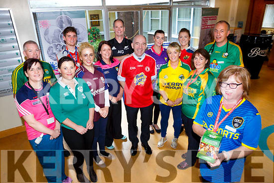University Hospital Kerry  Staff are taking part in a jersey day in aid of  Goal on Friday. Pictured front Mary O'Callaghan with UHK General Manager Fergal Grimes  Patricia Corbett, Sinead O'Connor, Helena Collins, Paudie McCarthy, Doreen Fitzelle, Leonard Magan, Brian O'Sullivan, Sandra Hayes, Denis Culloty, Caroline Sheehan, Nuala O'Connor, Martin Boyd