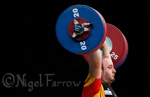 11 DEC 2011 - LONDON, GBR - Almir Velagic (GER) lifts during the men's +105kg category Clean and Jerk of the London International Weightlifting Invitational and 2012 Olympic Games test event held at the ExCel Exhibition Centre in London, Great Britain .(PHOTO (C) NIGEL FARROW)