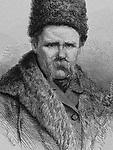 Taras Shevchenko (1814-1861). Ukrainian poet. Portrait. Engraving by La Ilustracion Espanola y Americana, 1877.