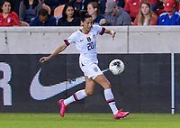 HOUSTON, TX - FEBRUARY 03: Christen Press #20 of the United States dribbles during a game between Costa Rica and USWNT at BBVA Stadium on February 03, 2020 in Houston, Texas.