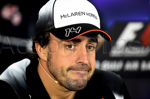 01.04.2016. Bahrain. FIA Formula One World Championship 2016, Grand Prix of Bahrain, Practise day.  Fernando Alonso, McLaren Honda, formula 1 GP at the press conference
