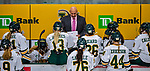 9 February 2020: University of Vermont Catamount Head Coach Jim Plumer, in his eighth season as head coach at Vermont, gives bench instruction during a time out in the 3rd period against the University of Connecticut Huskies at Gutterson Fieldhouse in Burlington, Vermont. The Lady Cats defeated the Huskies 6-2 in the second game of their weekend Hockey East series. Mandatory Credit: Ed Wolfstein Photo *** RAW (NEF) Image File Available ***