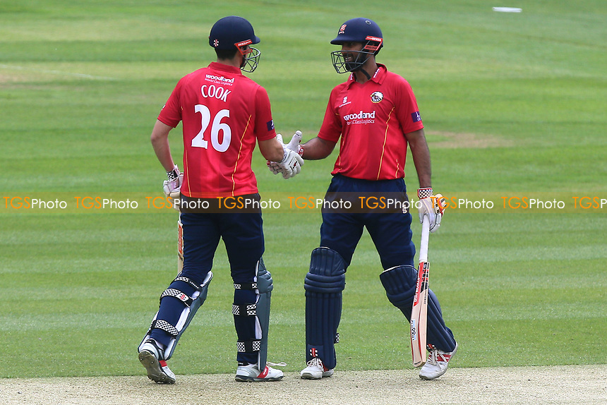 Varun Chopra of Essex (R) congratulates Alastair Cook on his century during Essex Eagles vs Gloucestershire, Royal London One-Day Cup Cricket at The Cloudfm County Ground on 4th May 2017