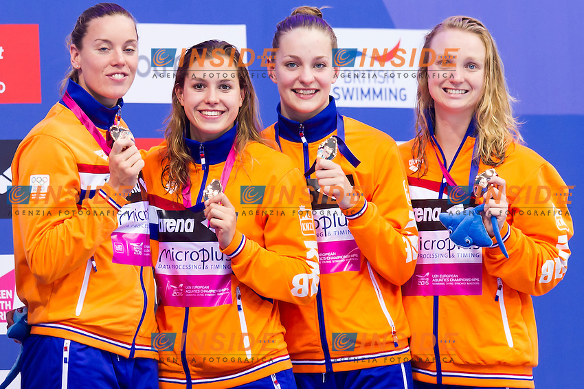 Team NETHERLANDS bronze medal<br /> London, Queen Elizabeth II Olympic Park Pool <br /> LEN 2016 European Aquatics Elite Championships <br /> Swimming<br /> Women's 4x200m freestyle final  <br /> Day 11 19-05-2016<br /> Photo Giorgio Perottino/Deepbluemedia/Insidefoto