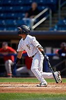 Staten Island Yankees shortstop Eduardo Torrealba (13) hits a double during a game against the Lowell Spinners on August 22, 2018 at Richmond County Bank Ballpark in Staten Island, New York.  Staten Island defeated Lowell 10-4.  (Mike Janes/Four Seam Images)