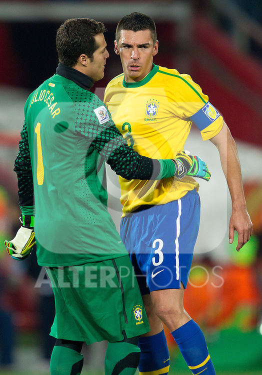 Julio Cesar and Lucio of Brazil celebrate during the 2010 FIFA World Cup South Africa. EXPA Pictures © 2010, PhotoCredit: EXPA/ Sportida/ Vid Ponikvar +++ Slovenia OUT +++