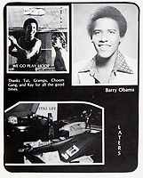 BNPS.co.uk (01202 558833)<br /> Pic: HeritageAuctions/BNPS<br /> <br /> 'Barry' Obama in the High School leavers book.<br /> <br /> Barack Obama's high school basketball top has emerged for sale for £80,000. ($100,000)<br /> <br /> The former president was a callow 18 year old when he wore the white number 23 jersey for Punahou School in Hawaii 40 years ago.<br /> <br /> His love of the sport endured into adulthood and he was frequently seen playing it at the White House.<br /> <br /> The top was due to be discarded at the end of the 1978/79 season, but his team-mate Peter Noble decided to take it home as he had also worn it when Obama was not able to play.<br /> <br /> He kept hold of it as a souvenir as they had become state champions. Now, four decades later, he is selling it with Heritage Auctions, of Dallas, Texas.