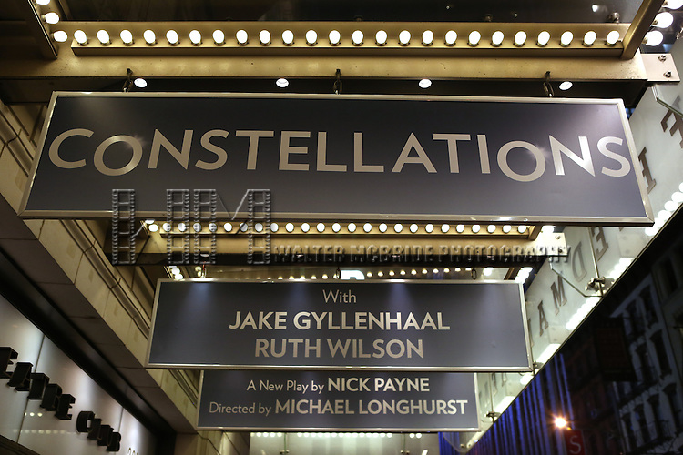 Theatre Marquee for 'Constellations' starring Jake Gyllenhaal and Ruth Wilson at the Samuel J. Friedman Theatre on December 14, 2014 in New York City.