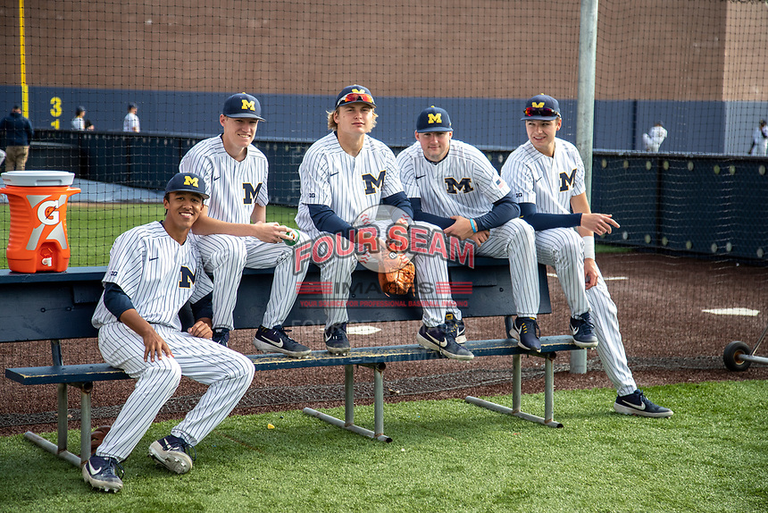 Michigan Wolverines bullpen (L to R) Isaiah Paige (25), Blake Beers (29), Willie Weiss (20), Jeff Criswell (17) and Harrison Salter (11) before the NCAA baseball game against the Eastern Michigan Eagles on May 8, 2019 at Ray Fisher Stadium in Ann Arbor, Michigan. Michigan defeated Eastern Michigan 10-1. (Andrew Woolley/Four Seam Images)