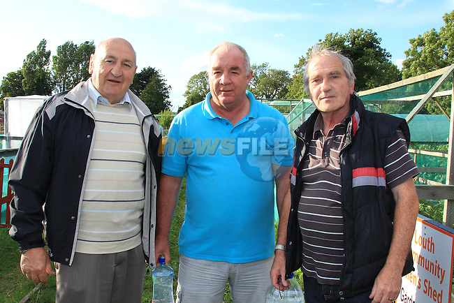 Danny Churchill Gerry Kierans Bernard Gilligan<br /> at the mens shed BBQ in Clope Allotmants.<br /> Picture:  Fran Caffrey / www.newsfile.ie