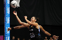 23.02.2018 Silver Ferns Ameliaranne Ekenasio in action during the Silver Ferns v Fiji Taini Jamison Trophy netball match at the North Shore Events Centre in Auckland. Mandatory Photo Credit ©Michael Bradley.