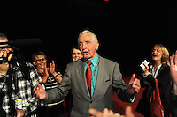 Liverpool, England. 24th September, 2016. <br /> Jeremy Corbyn is announced as the new leader of the Labour Party at the ACC Conference Centre. Dennis Skinner mp talks to reporters of his support for Jeremy Corbyn. Mr Corbyn&rsquo;s victory followed nine weeks of campaigning against fellow candidate, Owen Smith. This is his second leadership victory in just over twelve months and was initiated by the decision of Angela Eagle to stand against him. Kevin Hayes/Alamy Live News