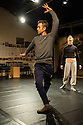 London, UK. 22.01.2014. IGNIS, the second part of choreographer Hubert Essakow's trilogy inspired by the elements, in rehearsal at The Print Room, where it opens on February 8th 2014. Picture shows: Hubert Essakow and Noora Kela. Photograph © Jane Hobson.