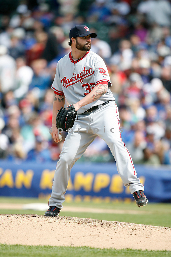 BRIAN BRUNEY,  of the Washington Nationals, in action  during Nationals game against the Chicago Cubs at Wrigley Field in Chicago, IL..