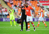 Blackpool's Kyle Vassell leaves the field due to injury<br /> <br /> Photographer Kevin Barnes/CameraSport<br /> <br /> Football - The EFL Sky Bet League Two - Blackpool v Exeter City - Saturday 6th August 2016 - Bloomfield Road - Blackpool<br /> <br /> World Copyright &copy; 2016 CameraSport. All rights reserved. 43 Linden Ave. Countesthorpe. Leicester. England. LE8 5PG - Tel: +44 (0) 116 277 4147 - admin@camerasport.com - www.camerasport.com