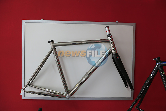 X Fire Titanium frame on display in the showroom at the Tommasini factory based in Grosseto, Tuscany, Italy 6th March 2017.<br /> Picture: Eoin Clarke | Newsfile<br /> <br /> <br /> All photos usage must carry mandatory copyright credit (© Newsfile | Eoin Clarke)