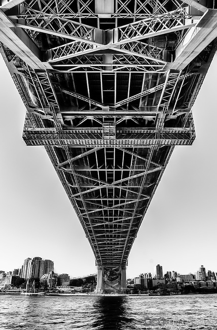 Looking up under the Sydney Harbour Bridge, NSW, Australia.