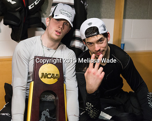 Mark Adams (PC - 4), Kyle McKenzie (PC - 5) - The Providence College Friars celebrated their national championship win after the Frozen Four final at TD Garden on Saturday, April 11, 2015, in Boston, Massachusetts.