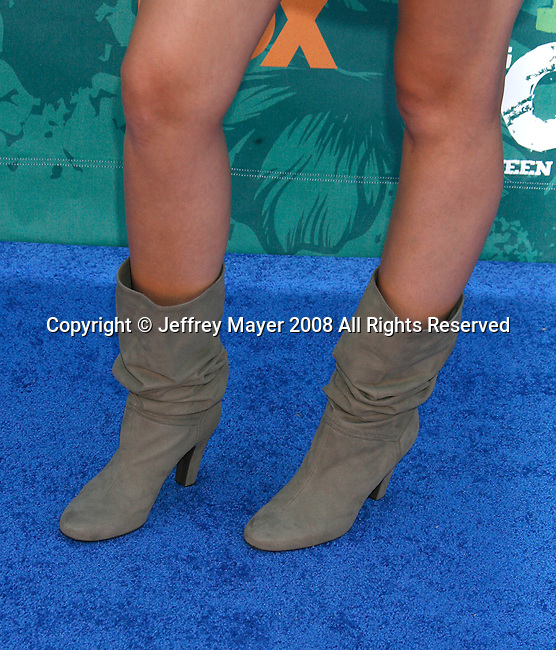 Singer/Actress Miley Cyrus 's shoes at the 2008 Teen Choice Awards at the Gibson Amphitheater on August 3, 2008 in Universal City, California.