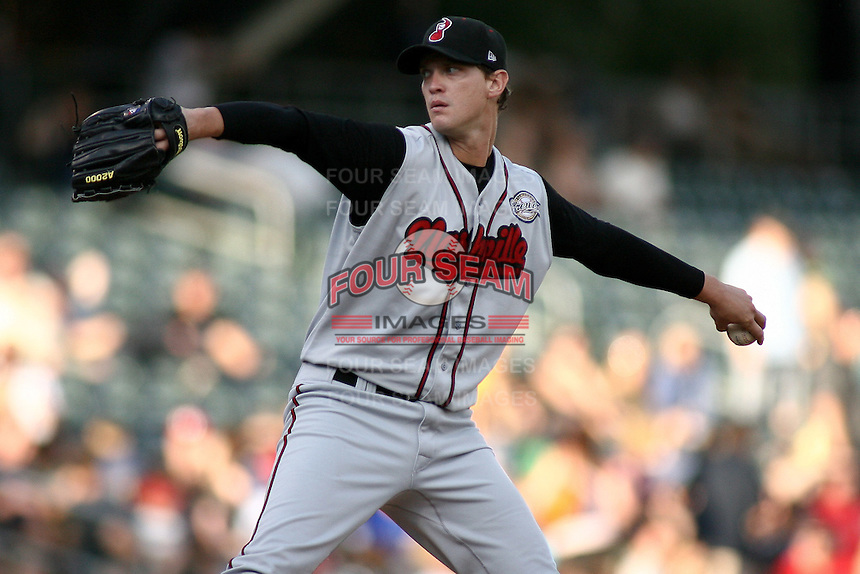 August 12, 2009: Sam Narron of the Nashville Sounds, Pacific Cost League Triple A affiliate of the Milwaukee Brewers, during a game at the Spring Mobile Ballpark in Salt Lake City, UT.  Photo by:  Matthew Sauk/Four Seam Images