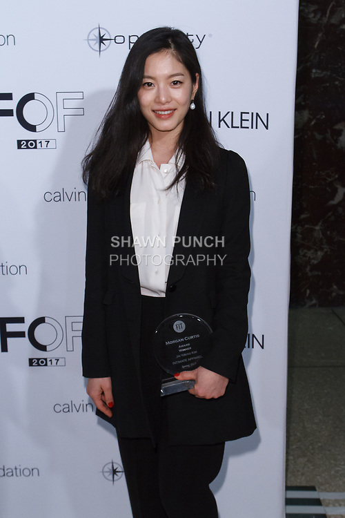 Graduating student Jin Young Kim, won the Morgan Curtis Critic Award, during the Future of Fashion 2017 runway show at the Fashion Institute of Technology on May 8, 2017.