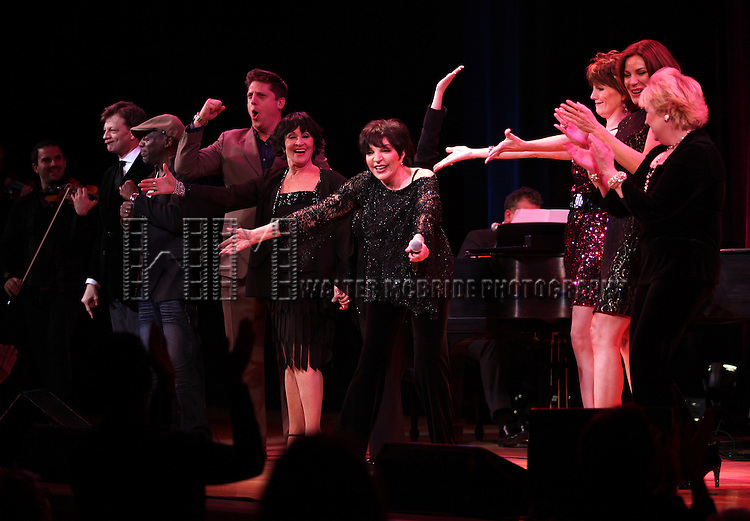New York, New York Finale featuring: Hinton Battle, Billy Stritch, Chita Rivera, Lisa Mordente, Liza Minnelli, Jim Caruso, Lucie Arnaz, Hilary Kole, Sally Mayes, Miranda Sings & William Blake.performing at The Best of Jim Caruso's Cast Party, a Benefit for BC/EFA at Town Hall in New York City.