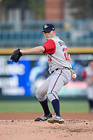 Gwinnett Braves starting pitcher Jake Brigham (28) in action against the Charlotte Knights at BB&T BallPark on August 24, 2015 in Charlotte, North Carolina.  The Knights defeated the Braves 3-2.  (Brian Westerholt/Four Seam Images)