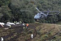 LA UNION -COLOMBIA-29-11-2016. Aspecto del sitio de la tragedia del avión de la compañia Lamia Corporation de Bolivia que transportaba al equipo Chapecoense de Brasil y el cual perdieron la vida 76 personas y 6 sorevivientes. El siniestro ocurrió en el cerro El Gordo, municipio de La Unión Antioquia  / Aspect of the site of the tragedy of the airplane of the company Lamia Corporation of Bolivia that transported Chapecoense team. 76 people lost and 6 survivors. The airplane crash happened at El Gordo mountain in La Union, Antioquia. Photo: VizzorImage/ Leon Monsalve / Cont
