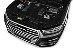 Car Stock 2017 Audi Q7-e-Tron Avus 5 Door SUV Engine  high angle detail view
