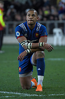 France's Gael Fickou reflects on the loss after the Steinlager Series international rugby match between the New Zealand All Blacks and France at Forsyth Barr Stadium in Wellington, New Zealand on Saturday, 23 June 2018. Photo: Dave Lintott / lintottphoto.co.nz