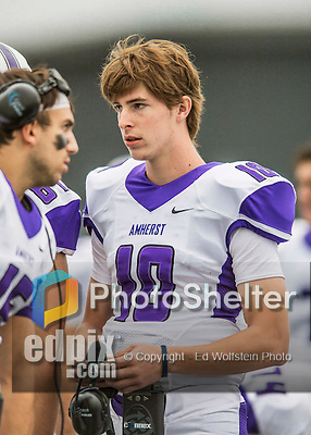 8 October 2016: Amherst College Purple & White Quarterback Ollie Eberth, a First Year from Andover, MA, is attentive to coaching on the sidelines during a game against the Middlebury College Panthers at Alumni Stadium in Middlebury, Vermont. The Panthers edged out the Purple & While 27-26. Mandatory Credit: Ed Wolfstein Photo *** RAW (NEF) Image File Available ***