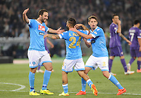 Lorenzo Insigne celebrates after scoring  during the the Italian Cup final soccer match between Napoli and  Fiorentina at the Olympic stadium in Rome May 3, 2014