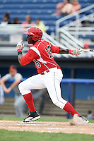 Batavia Muckdogs outfielder K.J. Woods (13) at bat during the first game of a doubleheader against the Connecticut Tigers on July 20, 2014 at Dwyer Stadium in Batavia, New York.  Connecticut defeated Batavia 5-3.  (Mike Janes/Four Seam Images)