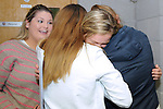 12/8/2015  Athletics star Jenna Bromell at Castletroy College Limerick, who got seven A1's in her leaving cert is congratulated by friends. <br /> Pic: Gareth Williams / Press 22