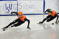 SHORT TRACK: TORINO: 14-01-2017, Palavela, ISU European Short Track Speed Skating Championships, Final A 500m Men, Sjinkie Knegt (NED), Dylan Hoogerwerf (NED), ©photo Martin de Jong