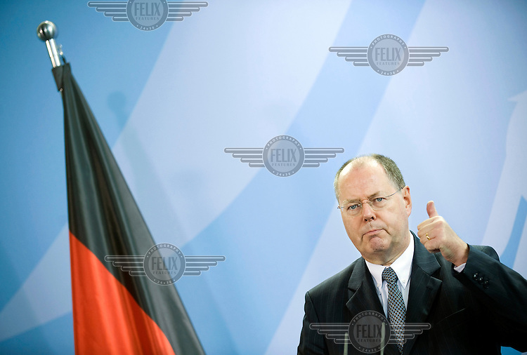 Peer Steinbrueck, Federal Minister of Finance, at a press call of the G20 summit, where the leaders of the G20 nations are to discuss common measures on combating the current global economic slowdown and restructuring the world finance system.